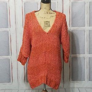 Free people Orange crochet oversized pullover S /P